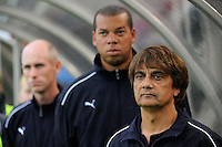 Los Angeles Sol head coach Abner Rogers, assistant coach Hubert Busby, Jr, and assistant coach Neil Powell (L to R). Sky Blue FC and the Los Angeles Sol played to a 0-0 tie during a Women's Professional Soccer match at Yurcak Field in Piscataway, NJ, on June 13, 2009.