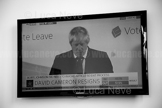 Boris Johnson: Brexit victory announcement during press conference at Leave Campaign HQ. <br />