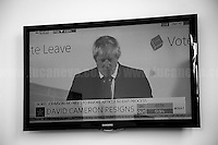 """Boris Johnson: Brexit victory announcement during press conference at Leave Campaign HQ. <br /> <br /> 24.06.2016 - 11:13AM - """"Leave Campaign HQ: Tony Blair & Boris Johnson"""".<br /> <br /> London, March-July 2016. Reporting the EU Referendum 2016 (Campaign, result and outcomes) observed through the eyes (and the lenses) of an Italian freelance photojournalist (UK and IFJ Press Cards holder) based in the British Capital with no """"press accreditation"""" and no timetable of the main political parties' events in support of the RemaIN Campaign or the Leave the EU Campaign.<br /> On the 23rd of June 2016 the British people voted in the EU Referendum... (Please find the caption on PDF at the beginning of the Reportage).<br /> <br /> For more photos and information about this event please click here: http://lucaneve.photoshelter.com/gallery/Leave-Campaign-HQ-Tony-Blair-Boris-Johnson/G00004rLeHW0h7xw/C0000LiS.GOfEuNk<br /> <br /> For more information about the result please click here: http://www.bbc.co.uk/news/politics/eu_referendum/results"""