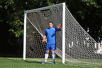 The Lapton FC goalkeeper looks on from between the posts during the Hackney & Leyton Sunday League match at Victoria Park - 14/09/08 - MANDATORY CREDIT: Gavin Ellis/TGSPHOTO - Self billing applies where appropriate - Tel: 0845 094 6026