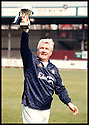 17th May 98      Copyright Pic : James Stewart   .STEVE JOYCE, ONE MEMBER OF THE CONSORTIUM DUE TO TAKE OVER AT BROCKVILLE, GETS HIS HANDS ON HIS FIRST PIECE OF SILVER WARE AFTER A FALKIRK SELECT SIDE, IN WHICH HE PLAYED, BEAT DUKLA PUMPHERSTON IN A CHALLENGE MATCH IN AID OF THE BACK THE BAIRNS CAMPAIGN.........Payments to :-.James Stewart Photo Agency, Stewart House, Stewart Road, Falkirk. FK2 7AS      Vat Reg No. 607 6932 25.Office : 01324 630007        Mobile : 0421 416997.If you require further information then contact Jim Stewart on any of the numbers above.........