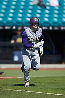 Michael Goehrig (10) of the Western Carolina Catamounts hustles down the first base line against the Kennesaw State Owls at Springs Brooks Stadium on February 22, 2020 in Conway, South Carolina. The Owls defeated the Catamounts 12-0.  (Brian Westerholt/Four Seam Images)