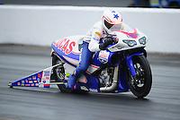 May 13, 2011; Commerce, GA, USA: NHRA pro stock motorcycle rider Hector Arana Jr during qualifying for the Southern Nationals at Atlanta Dragway. Mandatory Credit: Mark J. Rebilas-