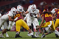 LOS ANGELES, CA - SEPTEMBER 11: Barrett Miller #63 of the Stanford Cardinal during a game between University of Southern California and Stanford Football at Los Angeles Memorial Coliseum on September 11, 2021 in Los Angeles, California.