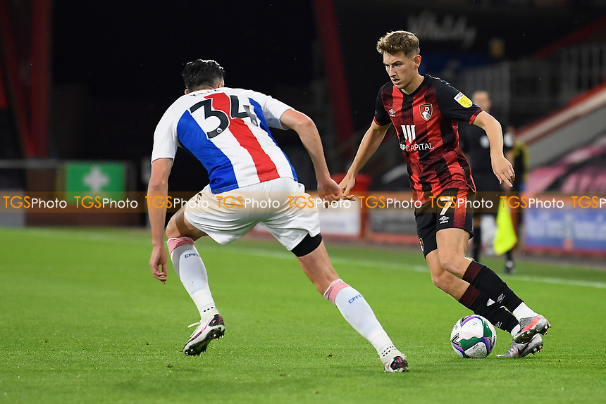 David Brooks of Bournemouth right takes on Martin Kelly of Crystal Palace during AFC Bournemouth vs Crystal Palace, Carabao Cup Football at the Vitality Stadium on 15th September 2020