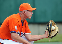 October 25, 2009: Head coach Jack Leggett of the Clemson Tigers in an intra-squad Orange and Purple scrimmage game at the end of fall practice at Doug Kingsmore Stadium in Clemson, S.C. Photo by: Tom Priddy/Four Seam Images