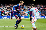 Ivan Rakitic of FC Barcelona (L) competes for the ball with Jozabed Sanchez Ruiz of RC Celta de Vigo (R) during the La Liga 2017-18 match between FC Barcelona and RC Celta de Vigo at Camp Nou Stadium on 02 December 2017 in Barcelona, Spain. Photo by Vicens Gimenez / Power Sport Images