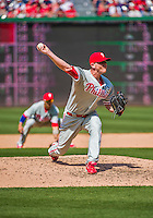 24 May 2015: Philadelphia Phillies pitcher Justin De Fratus on the mound against the Washington Nationals at Nationals Park in Washington, DC. The Nationals defeated the Phillies 4-1 to take the rubber game of their 3-game weekend series. Mandatory Credit: Ed Wolfstein Photo *** RAW (NEF) Image File Available ***