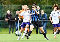 Jarne Teulings (16 Anderlecht) pictured in a fight for the ball with Frieke Temmerman (17 Brugge) during a female soccer game between Club Brugge Dames YLA and RSC Anderlecht Ladies on the fifth matchday of the 2020 - 2021 season of Belgian Scooore Womens Super League , sunday 18 October 2020  in Brugge , Belgium . PHOTO SPORTPIX.BE | SPP | DAVID CATRY