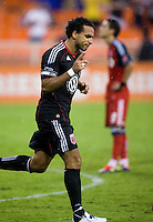 Dwayne De Rosario (7) of D.C. United celebrates his penalty kick goal  during the game at RFK Stadium in Washington, DC.  D.C. United tied Toronto FC, 3-3.