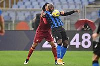 Romelu Lukaku of Inter and Chris Smalling of Roma  during the Serie A football match between AS Roma and FC Internazionale at Olimpico stadium in Roma (Italy), January 10th, 2021. Photo Andrea Staccioli / Insidefoto