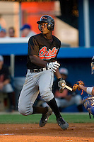 Corey Thomas #3 of the Bluefield Orioles follows through on his swing versus the Burlington Royals at Burlington Athletic Park June 30, 2009 in Burlington, North Carolina. (Photo by Brian Westerholt / Four Seam Images)
