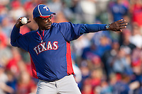 "Texas Rangers manager Ron Washington #38 throws out the ceremonial first pitch before the MLB exhibition baseball game against the ""AAA"" Round Rock Express on April 2, 2012 at the Dell Diamond in Round Rock, Texas. The Rangers out-slugged the Express 10-8. (Andrew Woolley / Four Seam Images)."