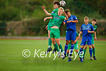 Kerrys Oisin Breen and Odhran Ferris clash with Limericks Conor Finn in the air, in the EA Sports U17 League of Ireland soccer game