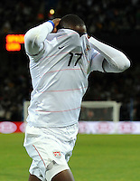 Jozy Altidore of USA celebrates scoring the opening goal by removing his shirt. USA vs Spain during the FIFA Confederations Cup at Free State Stadium in Manguang/Bloemfontein, South Africa on June 24, 2009..