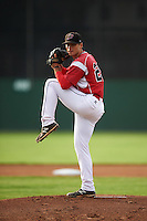 Batavia Muckdogs starting pitcher Reilly Hovis (28) during a game against the Brooklyn Cyclones on July 4, 2016 at Dwyer Stadium in Batavia, New York.  Brooklyn defeated Batavia 5-1.  (Mike Janes/Four Seam Images)