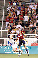 Adam Cristman (l) and Jamison Olave (r) watch the ball in the 1-2 RSL win at Rice Eccles Stadium in Salt Lake City, Utah on  June 21, 2008.