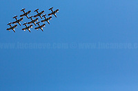 """Le Frecce Tricolori, the Italian Aerobatic Team.<br /> <br /> Rome, 25/04/2020. Today, to mark the 75th Anniversary of the Italian Liberation from nazi-fascism (Liberazione) in Rome, I documented backwards the route of the annual march (Corteo) from Garbatella (South Rome's District in the VIII Municipio / Municipality which in 2020 celebrates 100 years from its foundation) to Piazzale Ostiense (1.) where usually a rally took place attended by Partizans / Partigiani (2.), Veterans and politicians. This year people were not allowed to attend the Commemoration (held with just a delegation of WWII Italian Partizans / Partigiani - including ANPI (3.) - along with the Mayor of Rome and few other Institutional Representatives) due to the spread of the 2019-20 Coronavirus pandemic (SARS-CoV-2 – infection: COVID-19, 5.) which already killed more than 200,000 people in the world (Data by WHO / OMS). The day ended with a flashmob held from the windows of Garbatella's Palladium (6.), where people sang two of the most famous Partizans / Partigiani's Anthems: Bella Ciao and Fischia Il Vento, the Italian Anthem """"Il Canto Degli Italiani / Inno d'Italia / Inno di Mameli"""", and few other songs (4.) which celebrate and remember the Partisans / Partigiani, their Sacrifice for the Freedom, the Italian Constitution, and the Future of Italy and Europe without fascisms and dictatorships.<br /> <br /> Footnotes & Links:<br /> 1. (25 Aprile 2018) http://tiny.cc/dsi3nz<br /> 2. (I Partigiani) http://tiny.cc/cwi3nz<br /> 3. http://www.anpi.it<br /> 4. Video (Source, Repubblica.it) : http://tiny.cc/3yi3nz<br /> 5. Rome's Lockdown: http://tiny.cc/d3i3nz & http://tiny.cc/w5i3nz <br /> 6. (Source, Wikipedia.org ENG) http://tiny.cc/6fm3nz <br /> (Liberazione: Source, Wikipedia.org ENG) http://tiny.cc/l9i3nz"""
