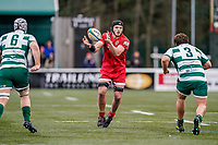 Kyle Hatherell of Jersey Reds during the Championship Cup QF match between Ealing Trailfinders and Jersey Reds at Castle Bar, West Ealing, England  on 22 February 2020. Photo by David Horn.