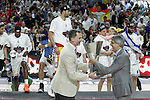King Felipe VI of Spain with the Euroleague General Manager Jordi Bertomeu with the winner trophy in the Euroleague Final Match. May 15,2015. (ALTERPHOTOS/Acero)