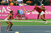 Marie-Eve Pelletier and Sharon Fichman Fed Cup Serbia vs Canada, World group II, first round, Novi Sad, Serbia, SPENS Sports Center, Sunday, February 06, 2011. (photo: Srdjan Stevanovic)(credit image & photo: Pedja Milosavljevic / +381 64 1260 959 / thepedja@gmail.com )