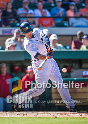 14 March 2014: Detroit Tigers catcher Luis Exposito in action during a Spring Training Game against the Washington Nationals at Joker Marchant Stadium in Lakeland, Florida. The Tigers defeated the Nationals 12-6 in Grapefruit League play. Mandatory Credit: Ed Wolfstein Photo *** RAW (NEF) Image File Available ***14 March 2014: Detroit Tigers infielder Hernan Perez in action during a Spring Training Game against the Washington Nationals at Joker Marchant Stadium in Lakeland, Florida. The Tigers defeated the Nationals 12-6 in Grapefruit League play. Mandatory Credit: Ed Wolfstein Photo *** RAW (NEF) Image File Available ***