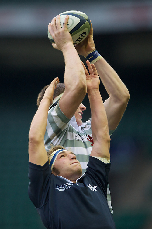 Nate Brakeley of Cambridge University outjumps Gus Jones of Oxford University in the lineout during the 131st Varsity Match between Oxford University and Cambridge University at Twickenham on Thursday 06 December 2012 (Photo by Rob Munro)