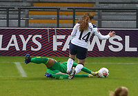 Lisa Weiß of Aston Villa gets to the ball first with a one on ne with Angela Addison of Tottenham Hotspur during Tottenham Hotspur Women vs Aston Villa Women, Barclays FA Women's Super League Football at the Hive Stadium on 13th December 2020