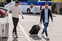 Spainsh Alvaro Morata and Nacho Fernandez arriving at the concentration of the spanish national football team in the city of football of Las Rozas in Madrid, Spain. November 08, 2016. (ALTERPHOTOS/Rodrigo Jimenez) ///NORTEPHOTO.COM