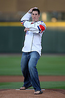 September 4, 2009:  Rochester Amerks center David Brine throws out the first pitch before the Rochester Red Wings game at Frontier Field in Rochester, NY.  The Red Wings are the Triple-A International League affiliate of the Minnesota Twins.  Photo By Mike Janes/Four Seam Images