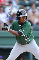 Shortstop Rando Moreno (21) of the Augusta GreenJackets bats in a game against the Greenville Drive on Sunday, July 13, 2014, at Fluor Field at the West End in Greenville, South Carolina. Greenville won, 8-5. (Tom Priddy/Four Seam Images)