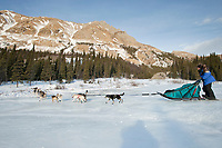 Cindy Gallea's team runs up an area called *the glacier* 11 miles after leaving the Rohn checkpoint during Iditarod 2009