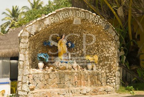Ilheus, Bahia State, Brazil. Southern beaches; shrine to the Queen of the Sea (Rainha do Mar) Iemanja in Candomble religion.