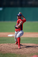 Williamsport Crosscutters relief pitcher Luis Ramirez (15) delivers a pitch during the first game of a doubleheader against the Batavia Muckdogs on August 20, 2017 at Dwyer Stadium in Batavia, New York.  Batavia defeated Williamsport 6-5.  (Mike Janes/Four Seam Images)