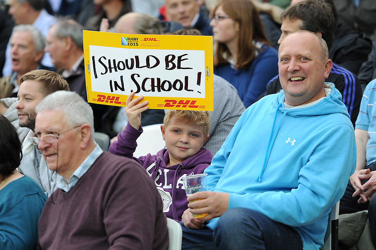 07 October 2015: A young fan enjoys the action during Match 31 of the Rugby World Cup 2015 between South Africa and USA - Queen Elizabeth Olympic Park, London, England (Photo by Rob Munro/CSM)