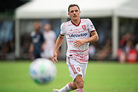 LAKE BUENA VISTA, FL - JULY 22: Donny Toia #4 of Real Salt Lake looks on at the ball during a game between Real Salt Lake and Sporting Kansas City at Wide World of Sports on July 22, 2020 in Lake Buena Vista, Florida.