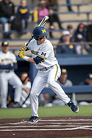 Michigan Wolverines second baseman Blake Nelson (10) at bat against the San Jose State Spartans on March 27, 2019 in Game 1 of the NCAA baseball doubleheader at Ray Fisher Stadium in Ann Arbor, Michigan. Michigan defeated San Jose State 1-0. (Andrew Woolley/Four Seam Images)