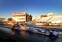 Jan 25, 2009; Chandler, AZ, USA; NHRA top fuel dragster driver Antron Brown races down track during testing at the National Time Trials at Firebird International Raceway. Mandatory Credit: Mark J. Rebilas-