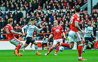 Nottingham Forest's defender Jack Colback (18) foulds Derby County's forward Tom Lawrence (10) during the Sky Bet Championship match between Nottingham Forest and Derby County at the City Ground, Nottingham, England on 10 March 2018. Photo by Stephen Buckley / PRiME Media Images.