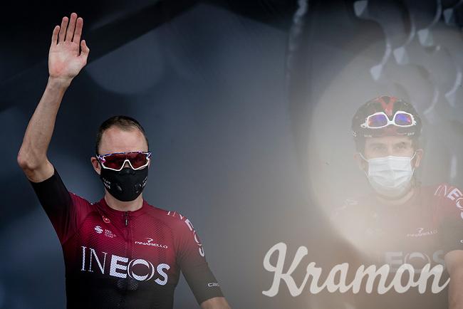 Chris Froome (GBR/Ineos) & Geraint Thomas (GBR/Ineos) at the race start in Megève<br /> <br /> Stage 5: Megève to Megève (154km)<br /> 72st Critérium du Dauphiné 2020 (2.UWT)<br /> <br /> ©kramon