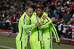 Barcelona´s Neymar Jr celebrates a goal with Iniesta and Messi during Copa del Rey `Spanish King Cup´ soccer match at Vicente Calderon stadium in Madrid, Spain. January 28, 2015. (ALTERPHOTOS/Victor Blanco)