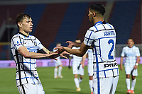 Achraf Hakimi of FC Internazionale (R) celebrates with Nicolo Barella after scoring the goal of 0-2 during the Serie A football match between FC Crotone and FC Internazionale at stadio Ezio Scida in Crotone (Italy), May 1st, 2021. Photo Daniele Buffa / Image Sport / Insidefoto