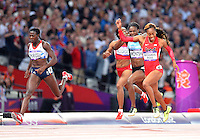 August 05, 2012..Sanya Richards-Ross crosses the line to win women's 400m Final at the Olympic Stadium on day nine of 2012 Olympic Games in London, United Kingdom.