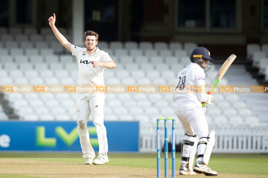 Jamie Overton, Surrey CCC believes he has Mohammad Abbas, Hampshire CCC caught and ruled not out during Surrey CCC vs Hampshire CCC, LV Insurance County Championship Group 2 Cricket at the Kia Oval on 1st May 2021