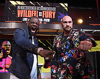 "LOS ANGELES - JANUARY 25: Deontay Wilder and Tyson Fury attend a Los Angeles press conference on January 25, 2020 for the ""Wilder vs Fury II"" FOX SPORTS PPV & ESPN+ PPV which will take place on Feb. 22 from the MGM Grand Garden Arena in Las Vegas. (Photo by Frank Micelotta/Fox Sports/PictureGroup)"