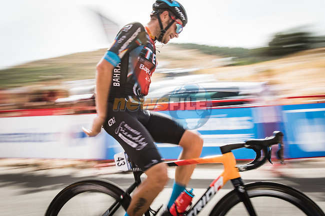 Damiano Caruso (ITA) Bahrain Victorious wins solo Stage 9 of La Vuelta d'Espana 2021, running 188km from Puerto Lumbreras to Alto de Velefique, Spain. 22nd August 2021.    <br /> Picture: Cxcling | Cyclefile<br /> <br /> All photos usage must carry mandatory copyright credit (© Cyclefile | Cxcling)
