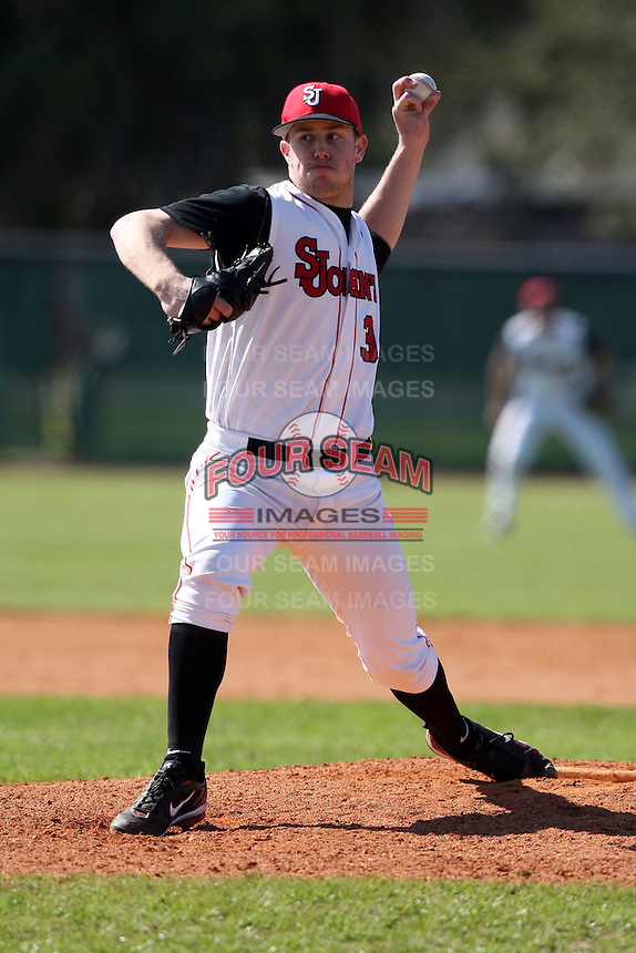 February 28, 2010:  Pitcher Brendan Lobban (34) of St. John's Red Storm during the Big East/Big 10 Challenge at Raymond Naimoli Complex in St. Petersburg, FL.  Photo By Mike Janes/Four Seam Images