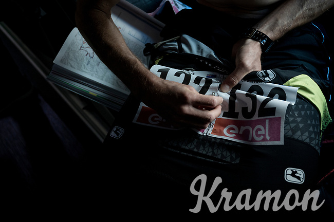 Jack Bauer (NZL/Mitchelton-Scott) pinning on his race number on the Mitchelton-Scott teambus<br /> <br /> Stage 12: Cuneo to Pinerolo (158km)<br /> 102nd Giro d'Italia 2019<br /> <br /> ©kramon