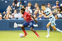 KANSAS CITY, KS - JULY 31: Ema Twumasi #22 FC Dallas with the ball during a game between FC Dallas and Sporting Kansas City at Children's Mercy Park on July 31, 2021 in Kansas City, Kansas.