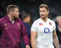 Danny Cipriani of England talks to Ben Morgan of England - 15/08/2015 - Twickenham Stadium - London <br /> Mandatory Credit: Rob Munro/Stewart Communications
